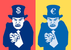 Financial oppression. Angry man is pointing at viewer. Symbol of euro / US dollar on the hat. Metaphor of financial oppression - tax collector, banker and policy Stock Photography