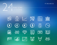 Financial outline icons set Stock Photos