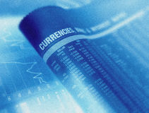 Financial page showing currencies Stock Image