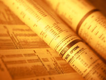 Financial page showing stock shares and interest rates Stock Photography