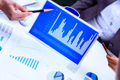 Financial paper charts and graph Stock Photo