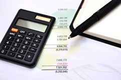 Financial paper charts and graphs Stock Image