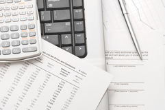 Financial papers and tools to analyze them Stock Photo