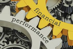 Financial Performance concept on the gears, 3D rendering. Financial Performance concept on the gears, 3D Stock Photos