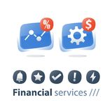 Financial performance report, money work, investment strategy, revenue increase, finance technology, business solutions. Financial performance report, money work Royalty Free Stock Photography