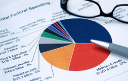 Financial pie chart. Pie chart depicting expenditure categories Stock Photography