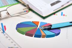 Financial pie chart. Financial pie  chart on table with glasses and pen Royalty Free Stock Image