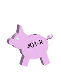 Financial Pig. Pig with 401-k on side conceptual ,saving for retirement Stock Photography