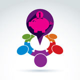 Financial piggy bank savings and social money theme icon, people Stock Image