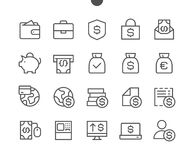 Financial Pixel Perfect Well-crafted Vector Thin Line Icons Stock Image