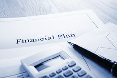 Financial Plan Blue Tone stock photography