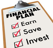 Financial Plan Clipboard Money Saving Strategy Steps Royalty Free Stock Photos
