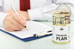 Financial plan concept with dollars Royalty Free Stock Images