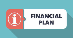 Financial Plan Concept in Flat Design. Financial Plan Concept in Flat Design with Long Shadows on Blue Background Stock Photo