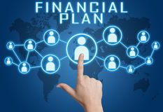 Financial Plan. Concept with hand pressing social icons on blue world map background Royalty Free Stock Images