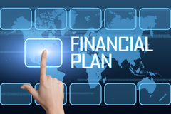 Financial Plan. Concept with interface and world map on blue background Stock Photo