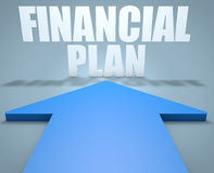 Financial Plan. 3d render concept of blue arrow pointing to text Stock Photos