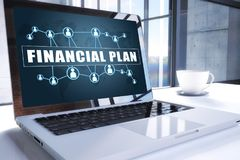 Financial Plan. Text on modern laptop screen in office environment. 3D render illustration business text concept Royalty Free Stock Photography