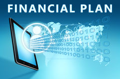 Financial Plan. Illustration with tablet computer on blue background Royalty Free Stock Photography