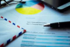Financial plan letter, Business concept, Financial analysis - income statement. Selective focus stock photos