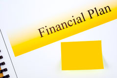 Financial Plan with Matching Sticky Note Royalty Free Stock Photo