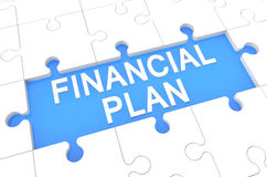 Financial Plan. Puzzle 3d render illustration with word on blue background Royalty Free Stock Image