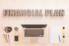 Financial Plan text concept. Financial Plan - text concept with notebook computer, smartphone, notebook and pens on wooden desktop. 3D render illustration Royalty Free Stock Photography
