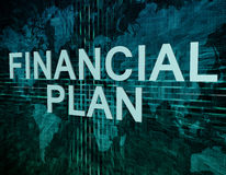 Financial Plan. Text concept on green digital world map background Stock Photography