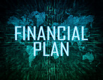 Financial Plan. Text concept on green digital world map background Stock Photo