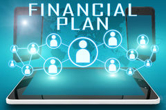 Financial Plan. Text illustration with social icons and tablet computer and mobile cellphones on cyan digital world map background Stock Images