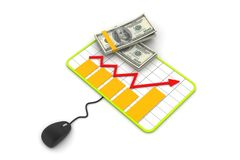 Financial Planning. Graph with a mouse and dollar banknotes Stock Photos