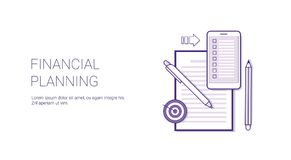 Financial Planning Business Concept Template Web Banner With Copy Space. Vector Illustration Royalty Free Stock Photography