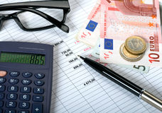 Financial planning concept. Costs and financial planning concept royalty free stock image