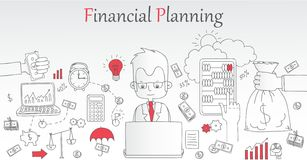 Financial planning concept banner. Doodle line design of web banner templates with outline icons of time management, finance planning, creative thinking.Vector Stock Photos