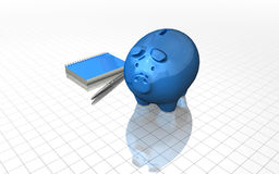 Financial planning concept with blue piggybank. Financial planning concept with blue piggy and notebook Royalty Free Stock Photos