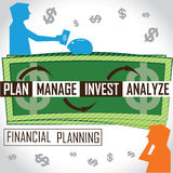 Financial Planning. If we have budget to our expenses, we need financial planning. The cycle and the circumstances are mentioned in the illustration Stock Photo