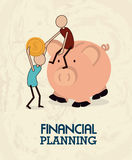 Financial planning. Illustration over pink background. vector illustration Royalty Free Stock Images