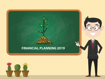 Financial planning 2019 new year business resolution financing vector. Illustration stock illustration