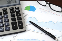 Financial Planning or SEO Concept - Sales or Visitors Report and Graphs Analysis Stock Image