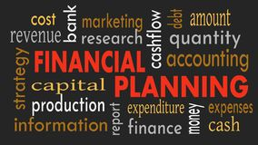 Financial planning, word cloud concept on dark background. Illustration stock photography