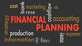 Financial planning, word cloud concept on dark background. Illustration stock video footage