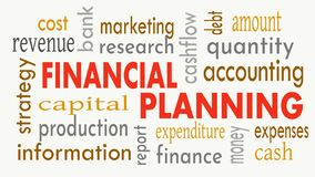 Financial planning, word cloud concept on white background. Illustration stock photo