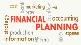Financial planning, word cloud concept on white background. Illustration stock video footage