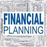 Financial planning word cloud. Creative illustration of idea word lettering typography . 3D rendering Stock Photos