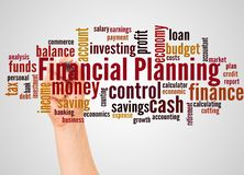Financial Planning word cloud and hand with marker concept. Financial Planning, word cloud and hand with marker concept on white background stock images
