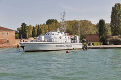 Financial police boat moored in Venice lagoon, Guidecca island, Italy. Stock Photo