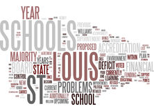 Financial And Political Problems Plague The Troubled St Louis Schools Text Background  Word Cloud Concept. FINANCIAL AND POLITICAL PROBLEMS PLAGUE THE TROUBLED Stock Photo
