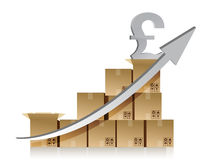 Financial pound box graph illustration design Stock Photos