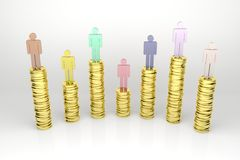Financial Power. 3d render illustration of several stacks of gold coins with human figures on top of them Royalty Free Stock Photography