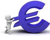 Financial pressure. Someone holding up a Euro sign Stock Images